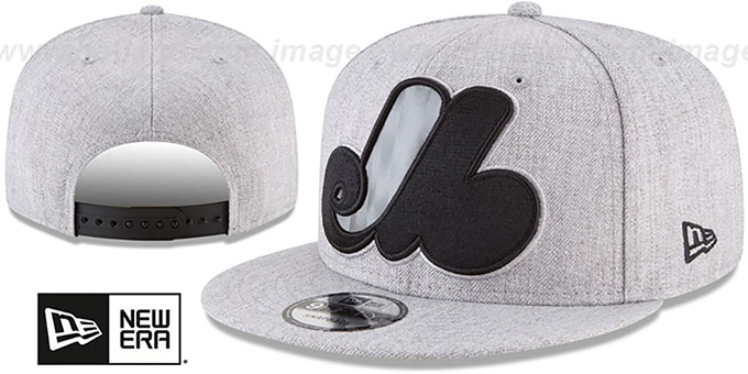 Expos 'COOP SILKED-XL SNAPBACK' Heather Light Grey Hat by New Era : pictured without stickers that these products are shipped with
