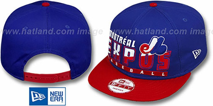 Expos COOP 'SLICE-N-DICE SNAPBACK' Royal-Red Hat by New Era : pictured without stickers that these products are shipped with