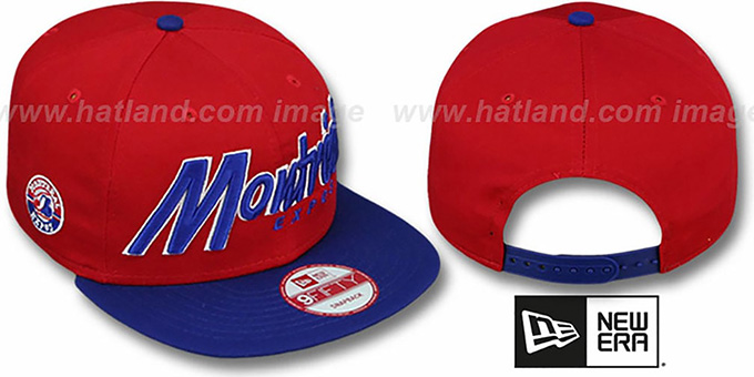 Expos COOP 'SNAP-IT-BACK SNAPBACK' Red-Royal Hat by New Era : pictured without stickers that these products are shipped with