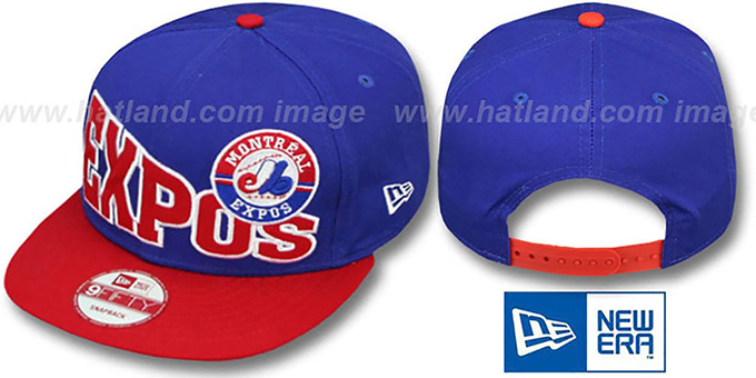 Expos COOP 'STOKED SNAPBACK' Royal-Red Hat by New Era : pictured without stickers that these products are shipped with