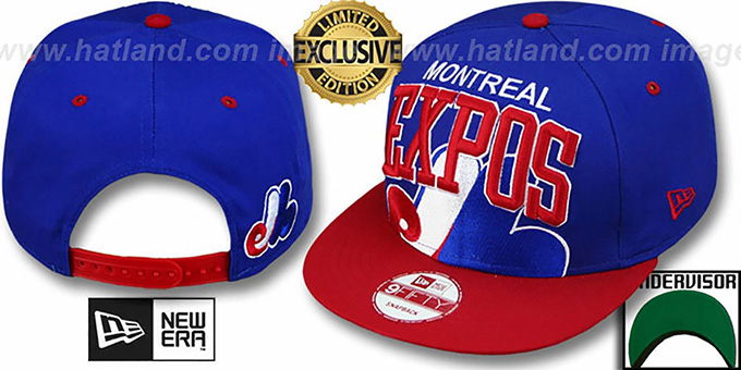 Expos COOP 'SUPER-LOGO ARCH SNAPBACK' Royal-Red Hat by New Era : pictured without stickers that these products are shipped with