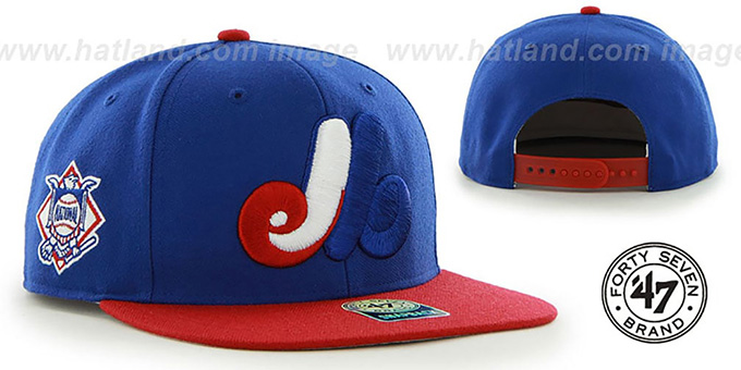 Expos COOP 'SURE-SHOT SNAPBACK' Royal-Red Hat by Twins 47 Brand : pictured without stickers that these products are shipped with