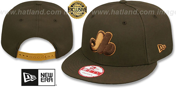 Expos COOP 'TEAM-BASIC SNAPBACK' Brown-Wheat Hat by New Era : pictured without stickers that these products are shipped with