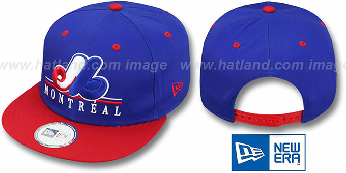 Expos COOP 'UNDERLINE SNAPBACK' Royal-Red Hat by New Era : pictured without stickers that these products are shipped with
