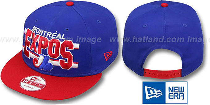 Expos COOP 'WORDSTRIPE SNAPBACK' Royal-Red Hat by New Era : pictured without stickers that these products are shipped with