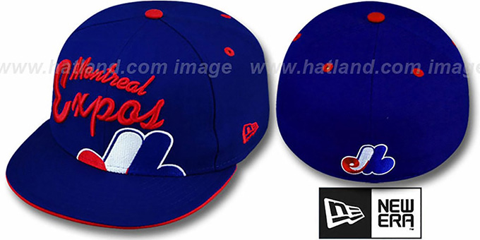 Expos 'COOPERSTOWN BIG-SCRIPT' Royal Fitted Hat by New Era : pictured without stickers that these products are shipped with