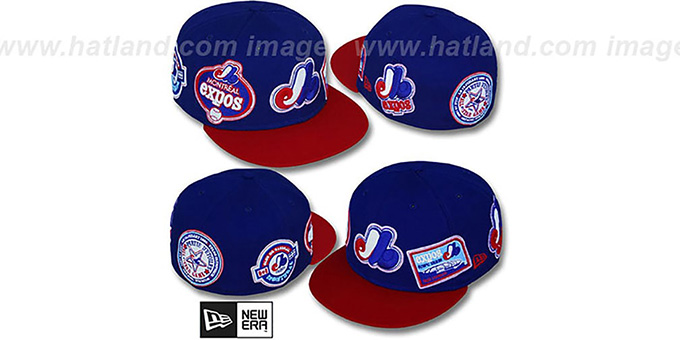 Expos 'DEEZ PATCHES' Royal-Red Fitted Hat by New Era : pictured without stickers that these products are shipped with