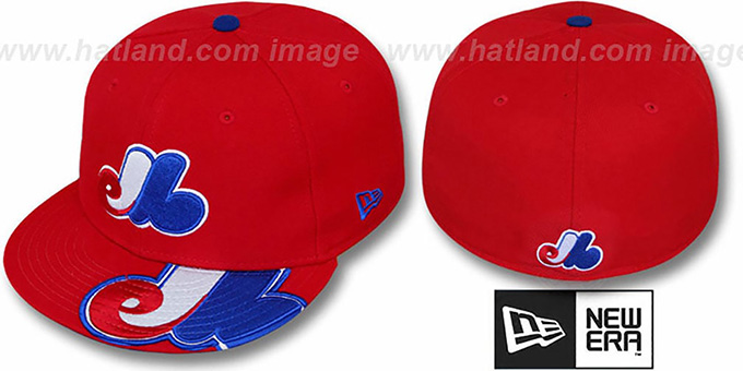 Expos 'DEVAZOR' Red Fitted Hat by New Era : pictured without stickers that these products are shipped with
