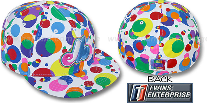 Expos 'GUMBALL' White-Multi Fitted Hat by Twins : pictured without stickers that these products are shipped with