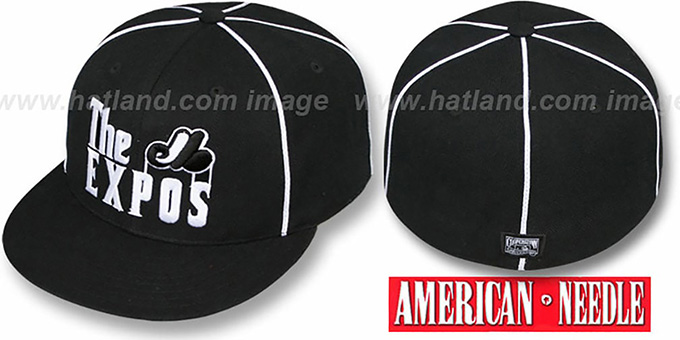 Expos 'THE GODFATHER' Black Fitted Hat by American Needle : pictured without stickers that these products are shipped with