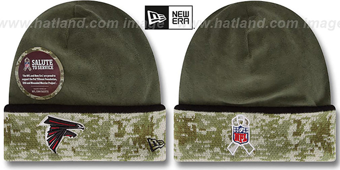 Falcons '2014 SALUTE-TO-SERVICE' Knit Beanie Hat by New Era : pictured without stickers that these products are shipped with