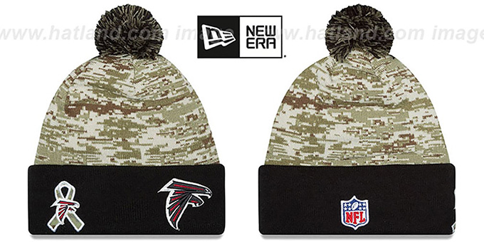 Falcons '2015 SALUTE-TO-SERVICE' Knit Beanie Hat by New Era : pictured without stickers that these products are shipped with
