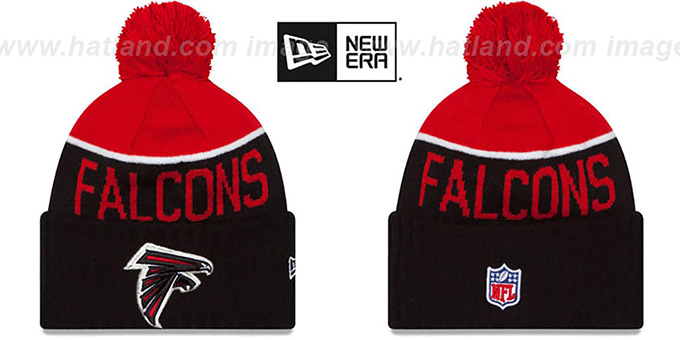 Falcons '2015 STADIUM' Black-Red Knit Beanie Hat by New Era : pictured without stickers that these products are shipped with