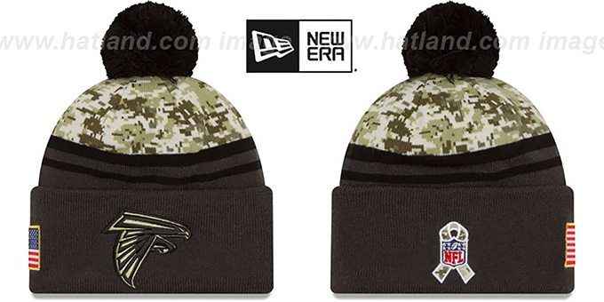 Falcons '2016 SALUTE-TO-SERVICE' Knit Beanie Hat by New Era : pictured without stickers that these products are shipped with