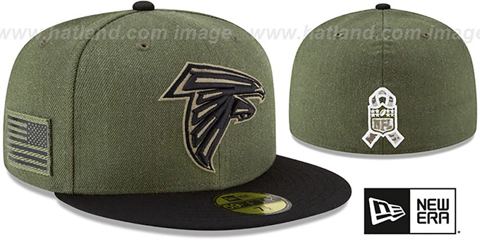 Falcons '2018 SALUTE-TO-SERVICE' Olive-Black Fitted Hat by New Era