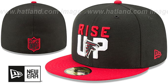 Falcons '2018 SPOTLIGHT' Black-Red Fitted Hat by New Era : pictured without stickers that these products are shipped with