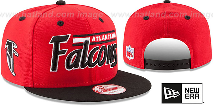 Falcons '2T RETRO-SCRIPT SNAPBACK' Red-Black Hat by New Era : pictured without stickers that these products are shipped with