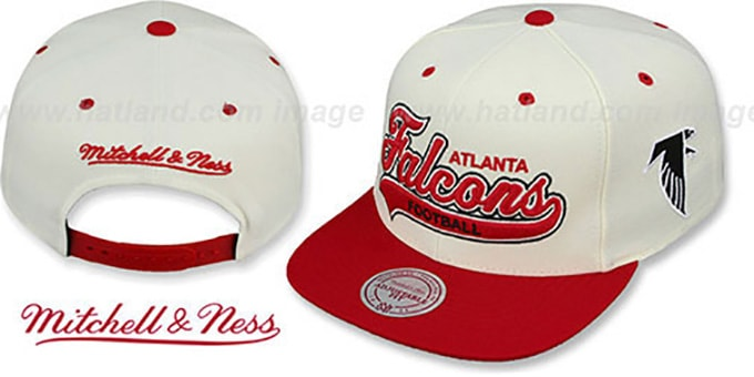 Falcons '2T TAILSWEEPER SNAPBACK' White-Red Hat by Mitchell and Ness : pictured without stickers that these products are shipped with