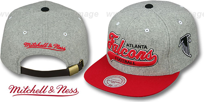 Falcons '2T TAILSWEEPER STRAPBACK' Grey-Red Hat by Mitchell & Ness : pictured without stickers that these products are shipped with
