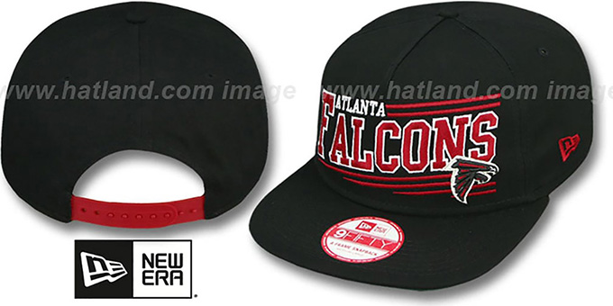 Falcons 'ANGULAR A-FRAME SNAPBACK' Black Hat by New Era : pictured without stickers that these products are shipped with