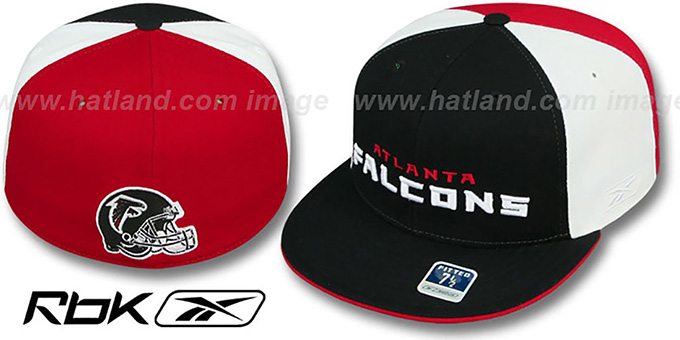 Falcons 'BACK-HELMET PINWHEEL' Black-White-Red Fitted Hat by Reebok : pictured without stickers that these products are shipped with