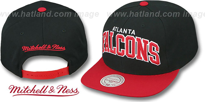 Falcons 'BLOCK-ARCH SNAPBACK' Black-Red Hat by Mitchell & Ness : pictured without stickers that these products are shipped with