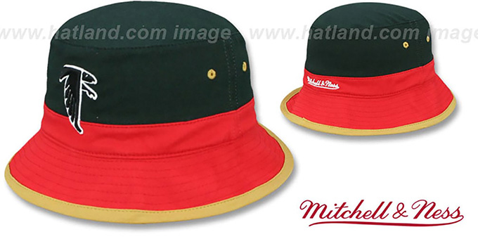 Falcons 'COLOR-BLOCK BUCKET' Black-Red-Tan Hat by Mitchell and Ness : pictured without stickers that these products are shipped with