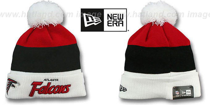 Falcons 'CUFF-SCRIPTER' White-Black-Red Knit Beanie Hat by New Era : pictured without stickers that these products are shipped with