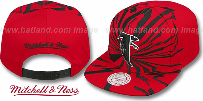 Falcons 'EARTHQUAKE SNAPBACK' Red Hat by Mitchell & Ness : pictured without stickers that these products are shipped with