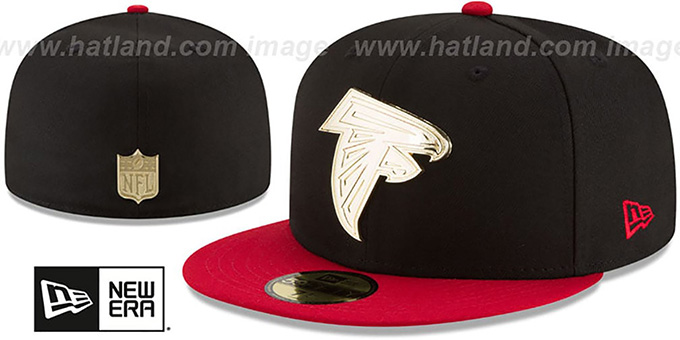 8b7630ab Atlanta Falcons GOLDEN-BADGE Black-Red Fitted Hat by New Era