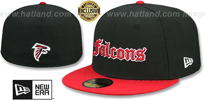Falcons 'GOTHIC TEAM-BASIC' Black-Red Fitted Hat by New Era