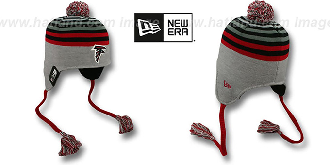 Falcons 'GREY STRIPETOP' Knit Beanie Hat by New Era : pictured without stickers that these products are shipped with