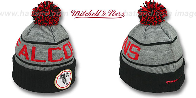 82436dc9e9fb21 Falcons 'HIGH-5 CIRCLE BEANIE' Grey-Black by Mitchell and Ness