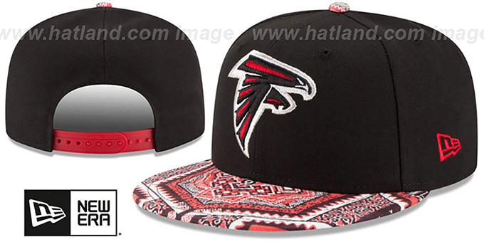 Falcons 'KALEIDOVIZE SNAPBACK' Black Hat by New Era : pictured without stickers that these products are shipped with