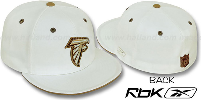 Falcons 'KOLORS' Bone Fitted Hat by Reebok : pictured without stickers that these products are shipped with