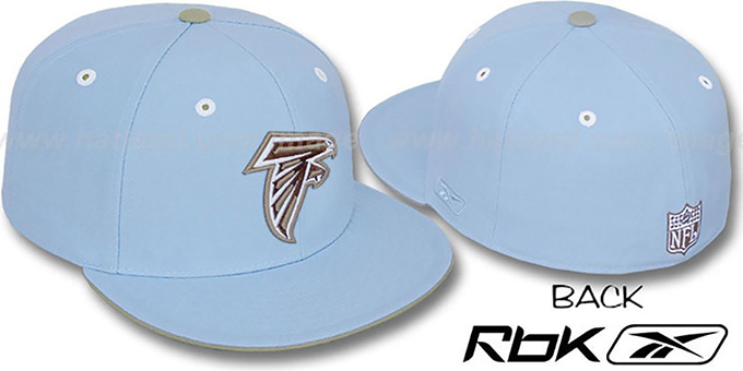 Falcons 'KOLORS' Light Blue Fitted Hat by Reebok : pictured without stickers that these products are shipped with