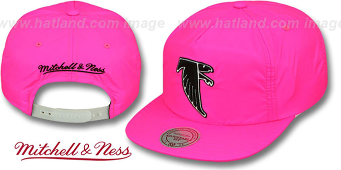Falcons 'NEON SNAPBACK' Pink Hat by Mitchell and Ness : pictured without stickers that these products are shipped with