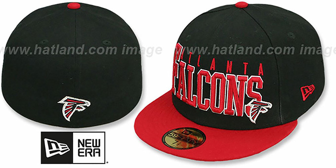 Falcons 'NFL 2T CHOP-BLOCK' Black-Red Fitted Hat by New Era : pictured without stickers that these products are shipped with