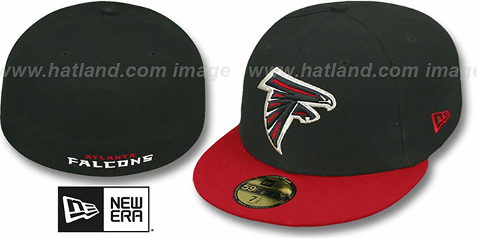 Falcons 'NFL 2T-TEAM-BASIC' Black-Red Fitted Hat by New Era : pictured without stickers that these products are shipped with