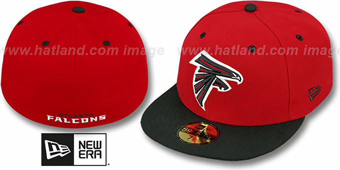 Falcons 'NFL 2T-TEAM-BASIC' Red-Black Fitted Hat by New Era : pictured without stickers that these products are shipped with