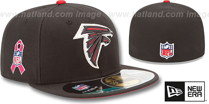 Falcons 'NFL BCA' Black Fitted Hat by New Era : pictured without stickers that these products are shipped with