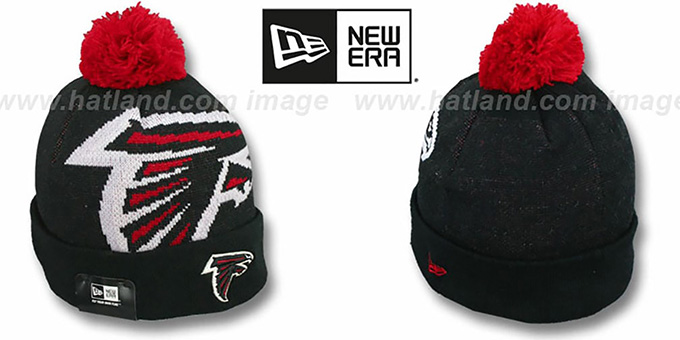 Falcons 'NFL-BIGGIE' Black Knit Beanie Hat by New Era : pictured without stickers that these products are shipped with