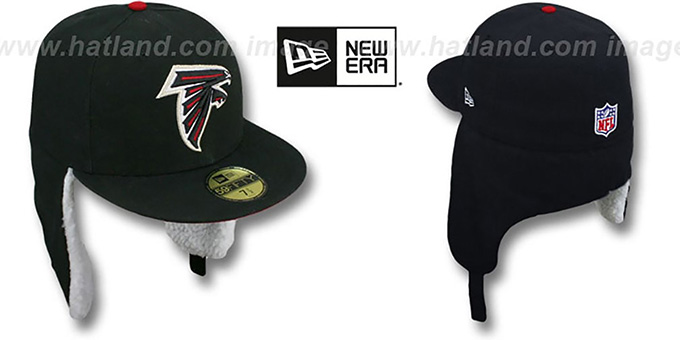 Falcons 'NFL-DOGEAR' Black Fitted Hat by New Era : pictured without stickers that these products are shipped with