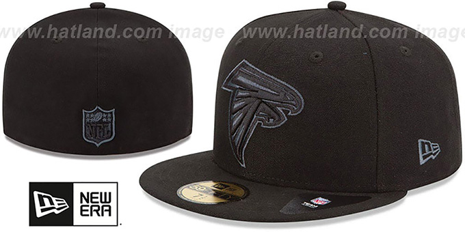 Falcons 'NFL FADEOUT-BASIC' Black Fitted Hat by New Era : pictured without stickers that these products are shipped with