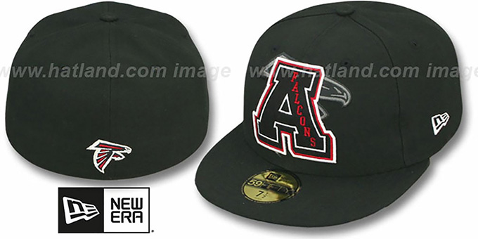 Falcons 'NFL FELTN' Black Fitted Hat by New Era : pictured without stickers that these products are shipped with