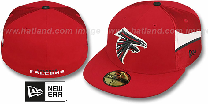 Falcons 'NFL JERSEY-STRIPE' Red Fitted Hat by New Era : pictured without stickers that these products are shipped with