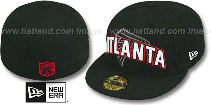 Falcons 'NFL ONFIELD DRAFT' Black Fitted Hat by New Era : pictured without stickers that these products are shipped with