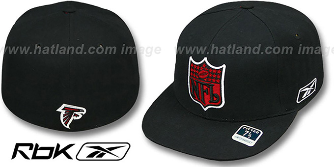 Falcons 'NFL-SHIELD' Black Fitted Hat by Reebok : pictured without stickers that these products are shipped with