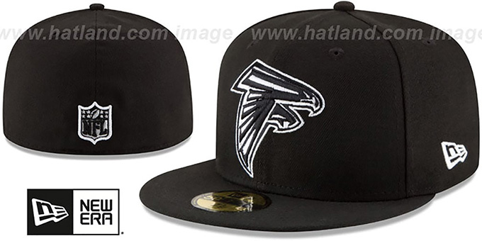 Falcons 'NFL TEAM-BASIC' Black-White Fitted Hat by New Era : pictured without stickers that these products are shipped with