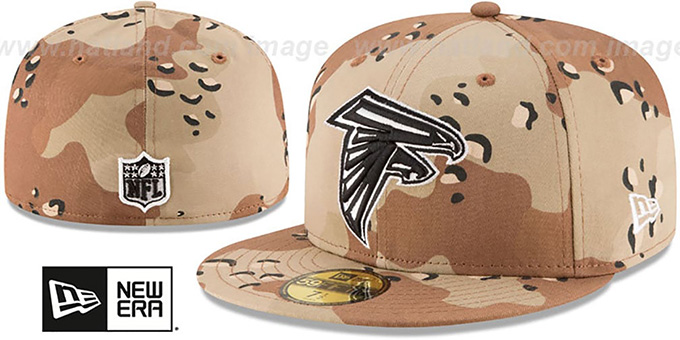 Falcons 'NFL TEAM-BASIC' Desert Storm Camo Fitted Hat by New Era : pictured without stickers that these products are shipped with